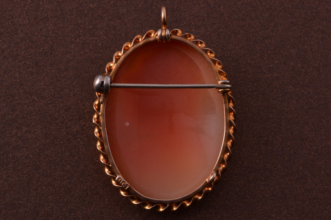 9ct Rose Gold Vintage Brooch Pendant With A Shell Cameo