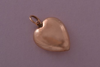 9ct Rose Gold Victorian Hollow Puffy Heart Charm