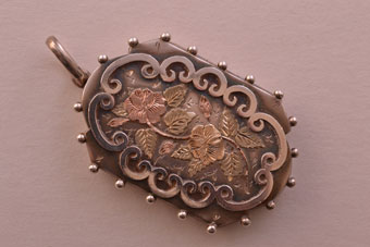 Silver Victorian Locket With Gold Decoration