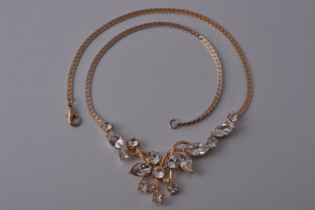 Gilt 1980 S Attwood Sawyer Necklace With Diamanté