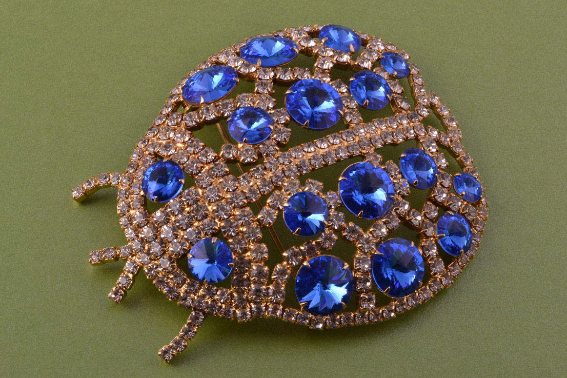 Gilt Vintage Bug Brooch With Paste