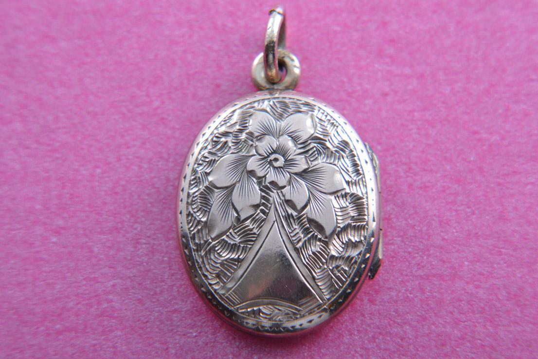 Enamel Victorian Locket With Engraving Antique Jewellery