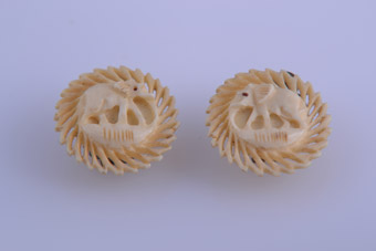 Hand Carved Elephant Clip On Earrings From Africa