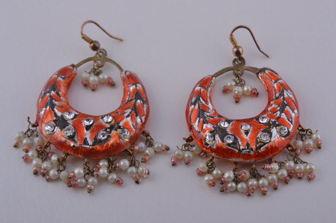 Enamel Oriental Hook Earrings With Diamanté And Faux Pearls