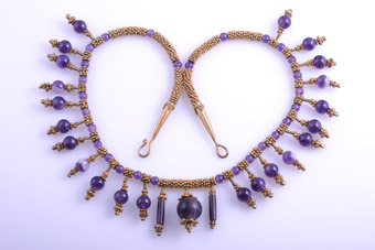 Gilt Necklace With Amethyst Beads