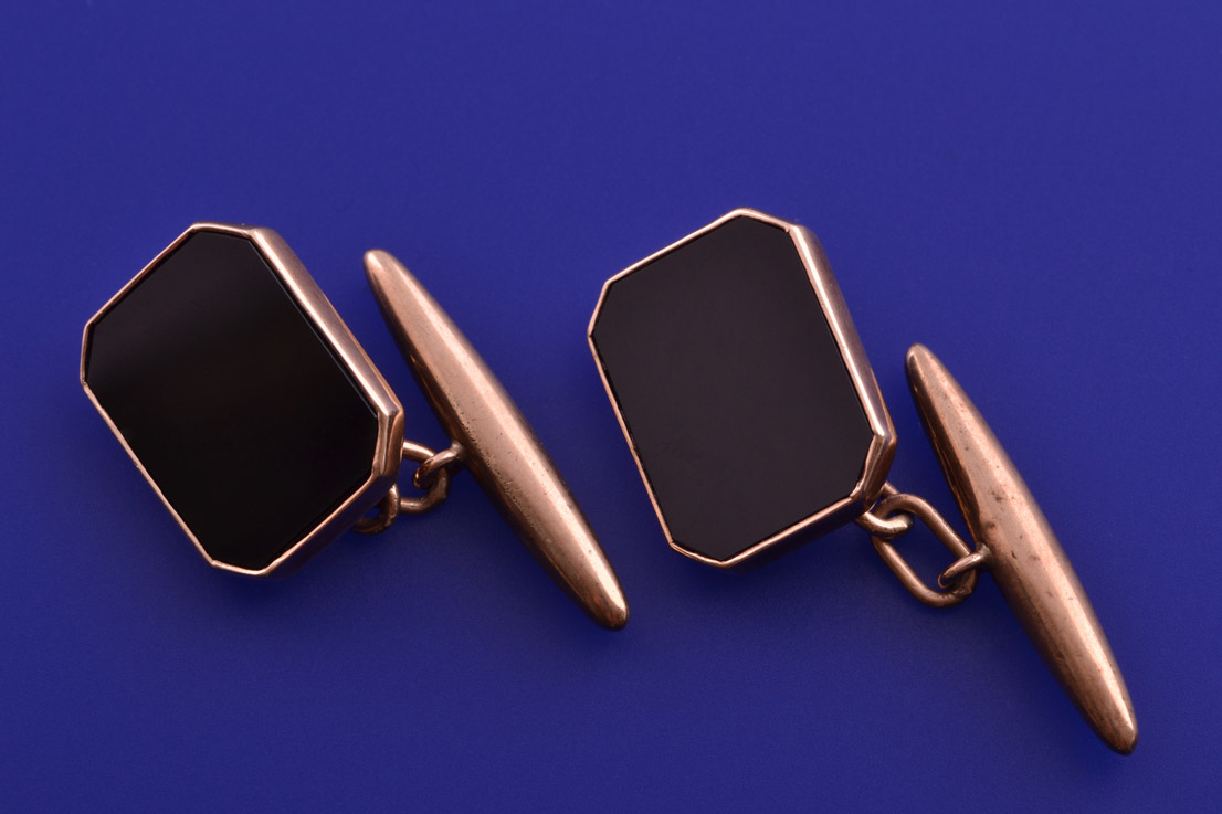 9ct Rose Gold 1930's Cocktail Cufflinks With Onyx
