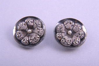 1950's Flower Clip On Earrings With Marcasite And Faux Pearl