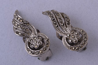 Retro Clip On Earrings With Marcasite
