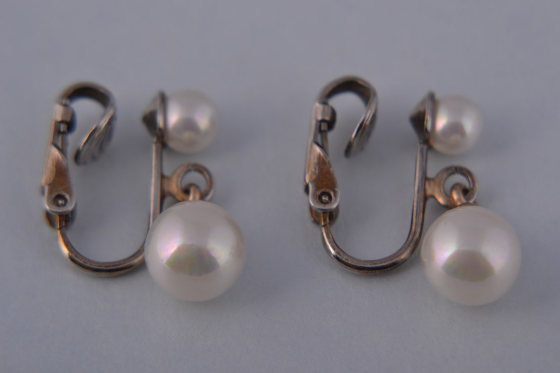 1950's Clip On Earrings With Faux Pearls