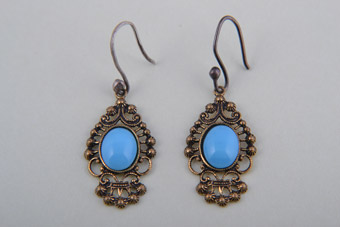 Filigree Hook Earrings With Glass