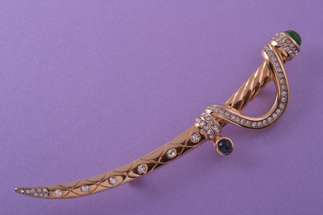 Gilt 1980's Scabbard Brooch With Coloured Paste