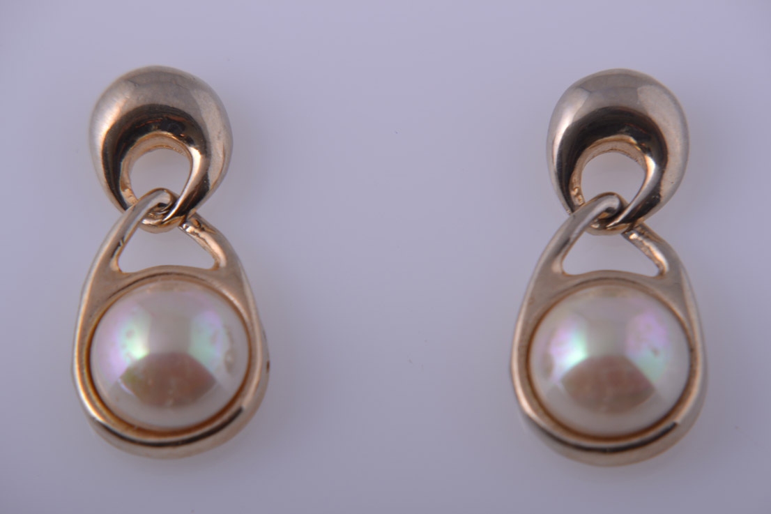Gilt 1970's Stud Earrings With Faux Pearls