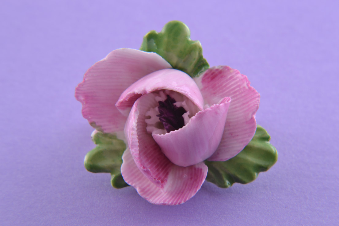 Porcelain Vintage Flower Brooch