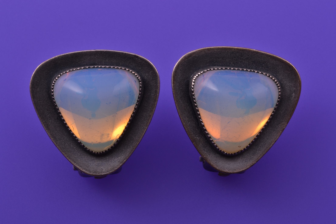 Retro Clip On Earrings With Opaline Glass