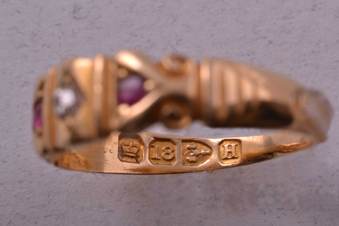 18ct Gold Victorian Gypsy Ring With Rubies And A Diamond