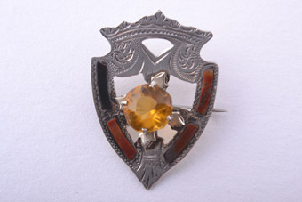 Silver Victorian Brooch With Agate From Scotland
