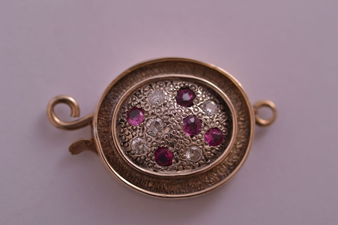9ct Gold Vintage Clasp With Rubies And Diamonds