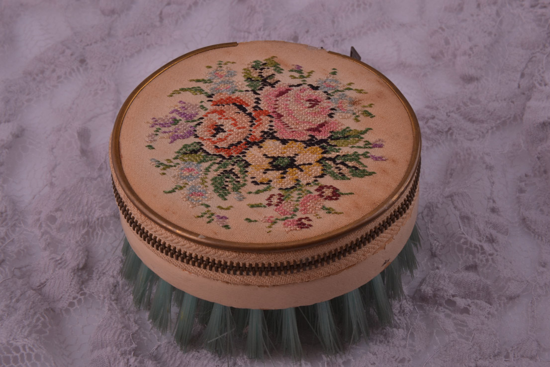 Petit Point 1930's Sewing Kit / Clothes Brush
