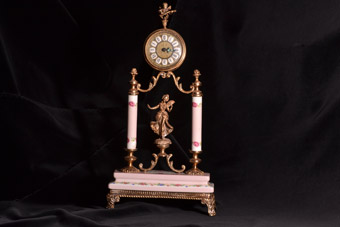 Porcelain And Gilt Vintage Mantel Clock