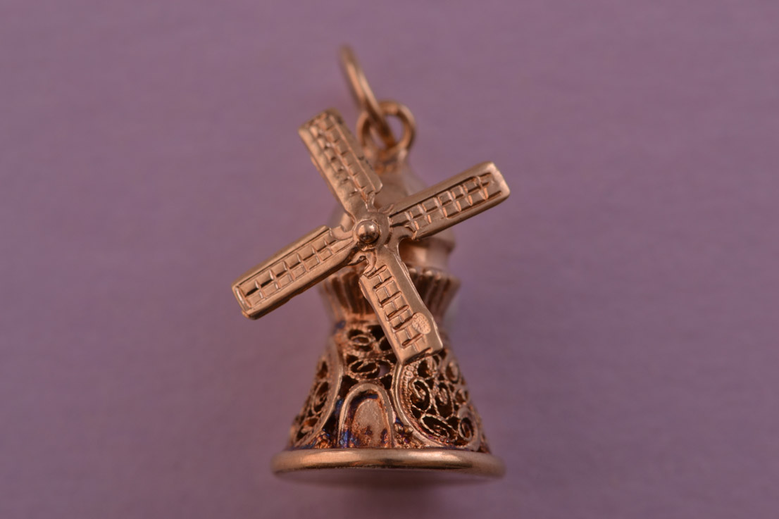 9ct Gold Vintage Mechanical Windmill Charm