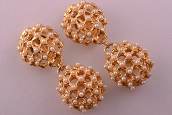 1980's Gilt Clip On Drop Earrings With Faux Pearls