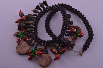 Wooden Vintage Fruit Necklace