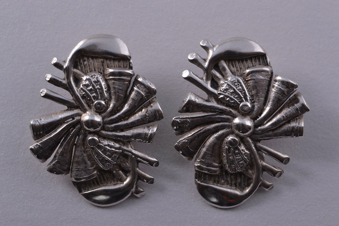 Silver Retro Mari-Lou Clip On Earrings