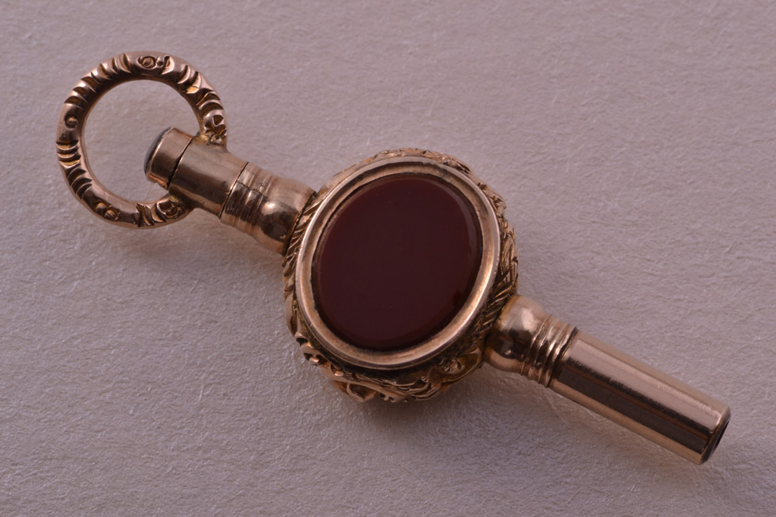 Victorian Gold Cased Watch Key With Bloodstone And Carnelian