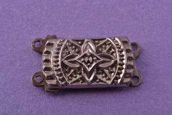 Silver Vintage Double-Strand Clasp With Marcasite