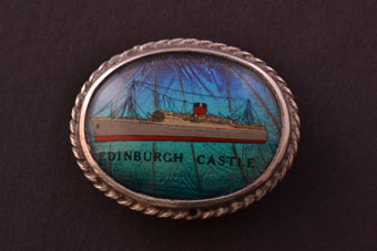 Silver Vintage Edinburgh Castle Brooch With Butterfly Wings
