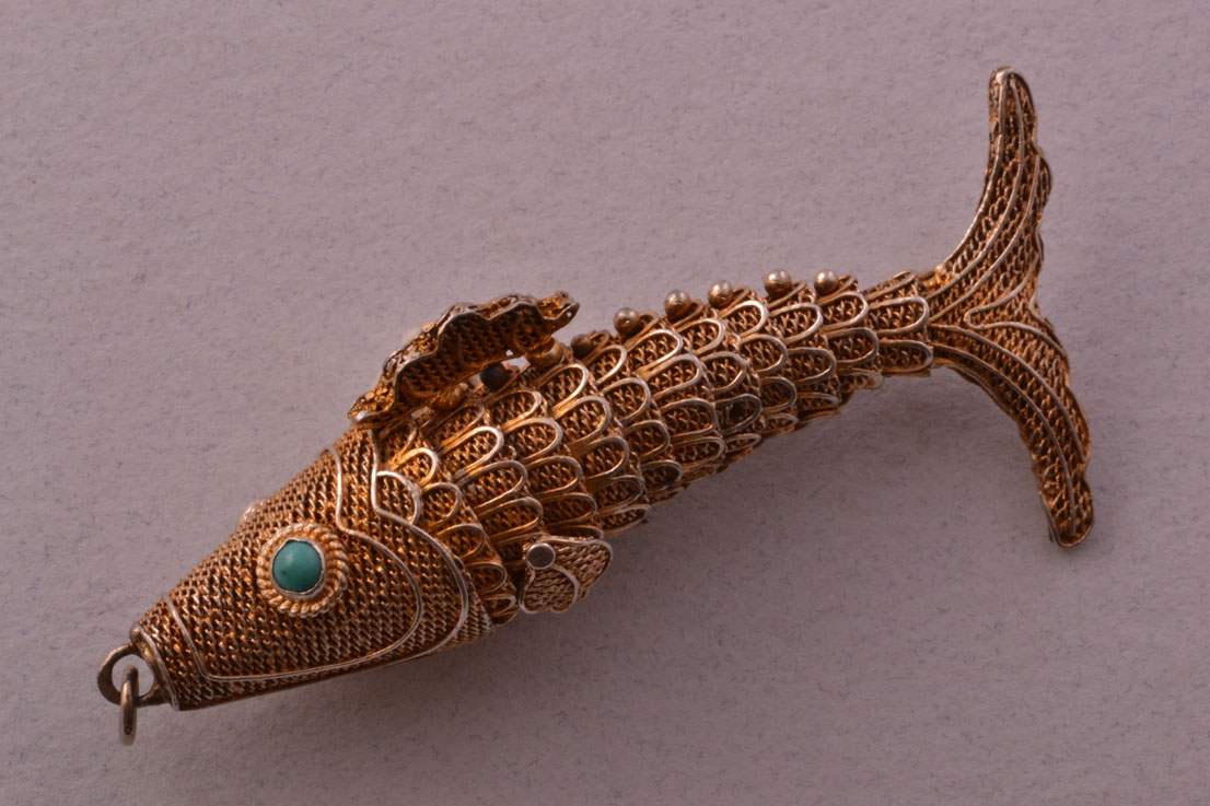 Silver Gilt Vintage Articulated Fish Charm With Turquoise
