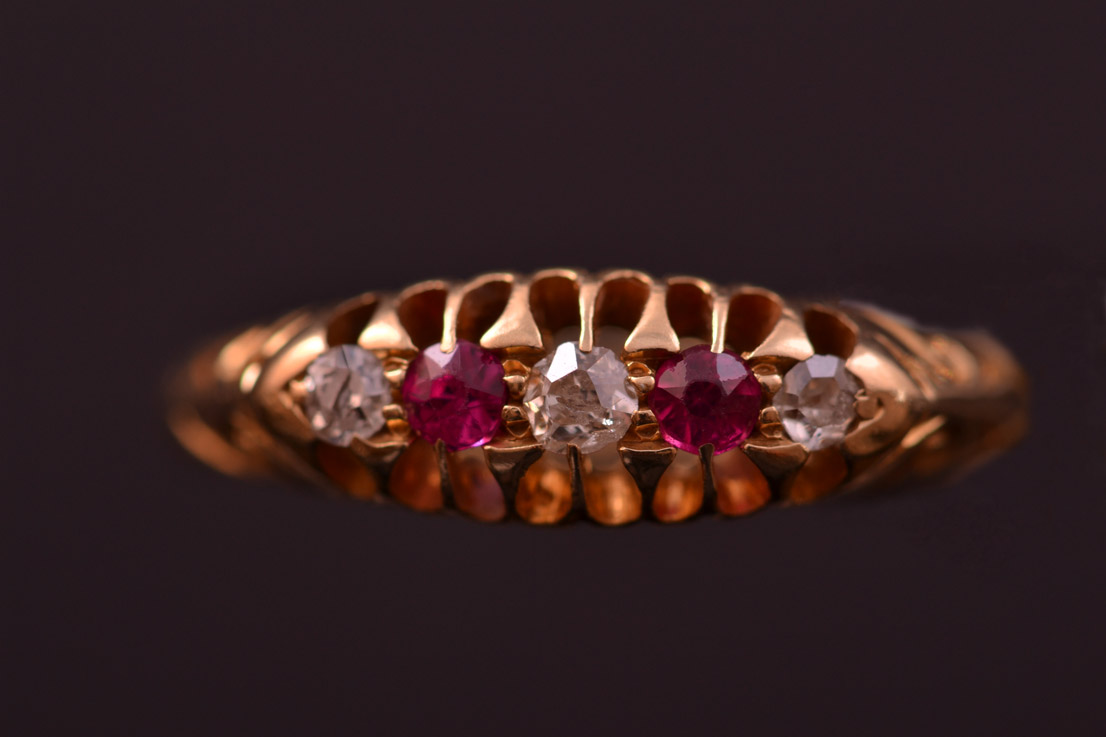 18ct Yellow Gold Vintage Ring With Rubies And Diamonds