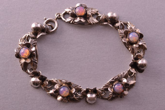 Silver Retro Bracelet With Faux Opals