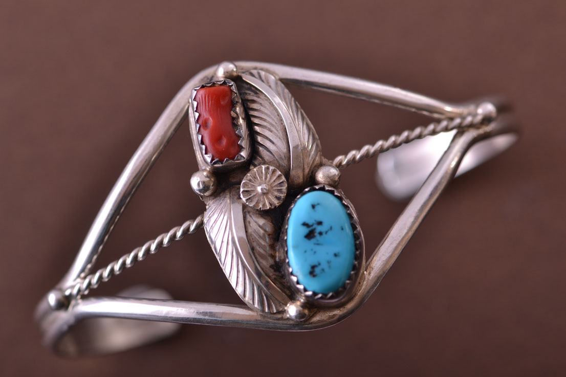 Silver Native American Navajo Cuff With Turquoise And Coral