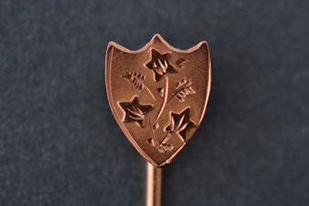 9ct Rose Gold Edwardian Stick Pin With Ivory Leaves