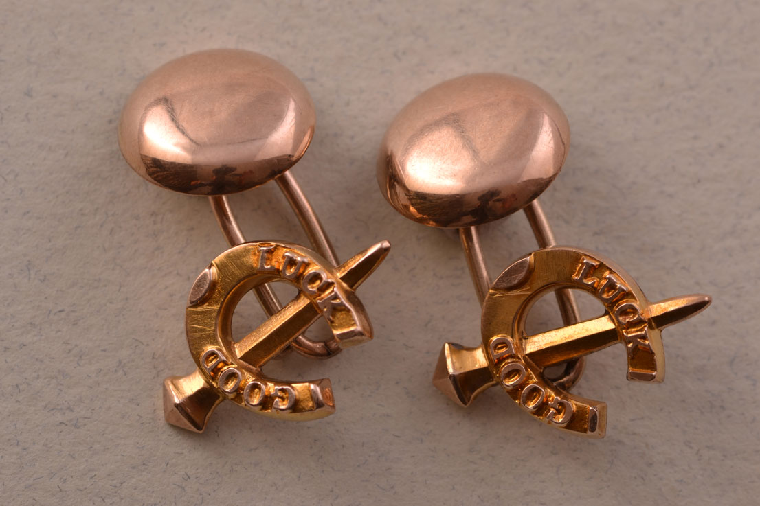 10ct Rose Gold Victorian Good Luck Horse Shoe Cufflinks