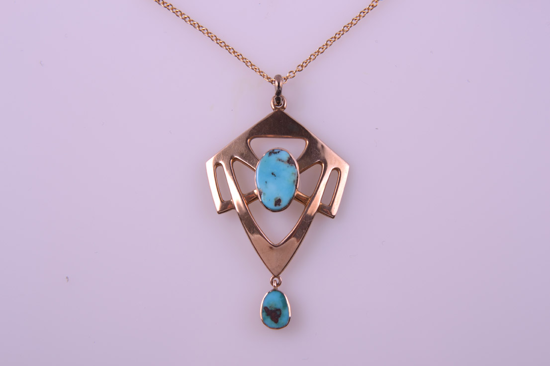 9ct Rose Gold Arts And Crafts Pendant With Turquoise