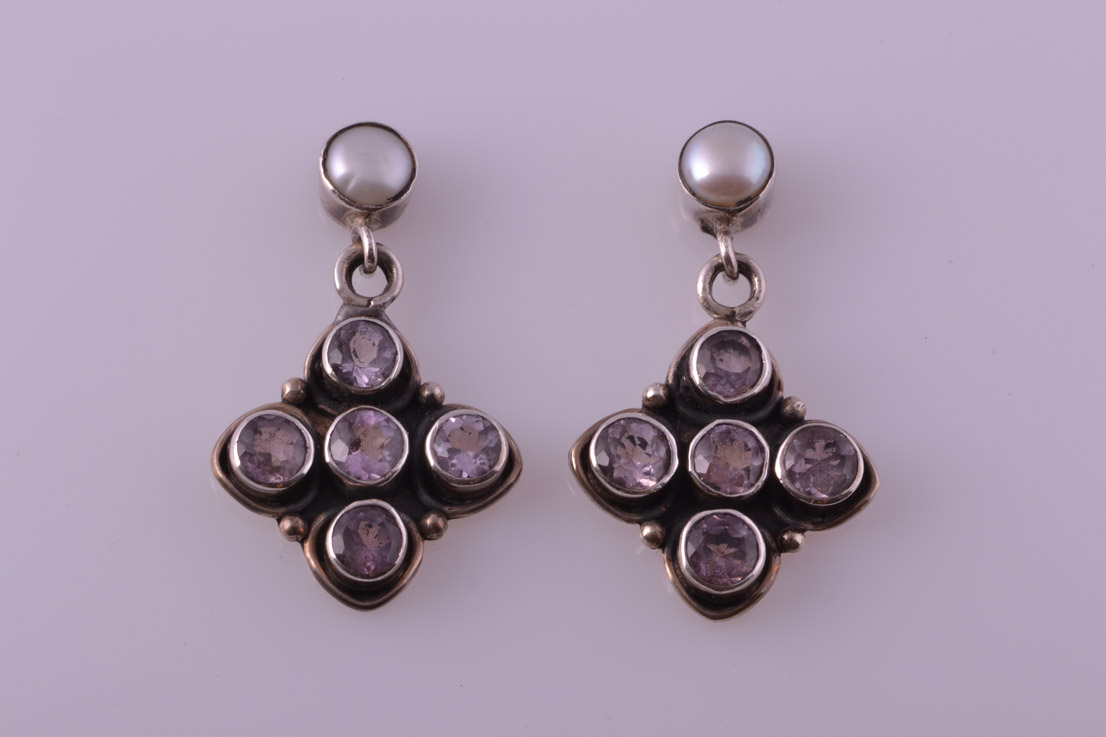 Silver Modern Drop Stud Earrings With Amethysts And Pearls