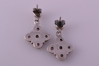 Silver Drop Stud Earrings