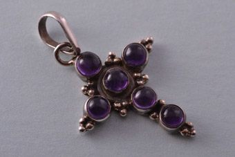 Silver Modern Cross With Amethysts