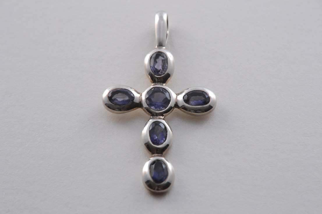 Silver Modern Cross With Iolite