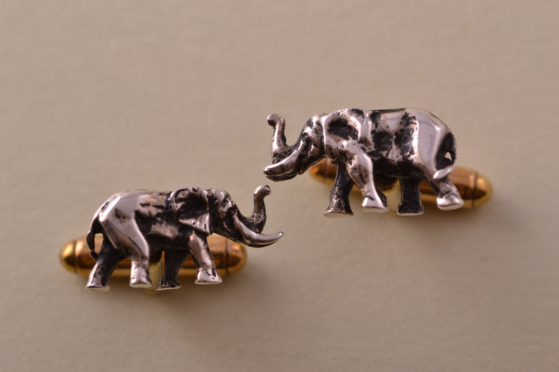 Silver And Gold Plated Modern African Elephant Cufflinks