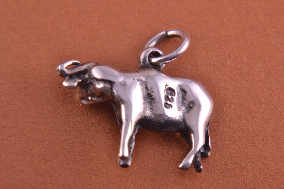 Silver Modern African Buffalo Charm Modern Jewellery