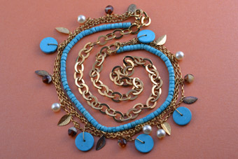 Gilt Modern Necklace With Faux Turquoise