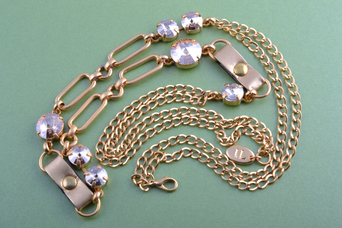 Gilt Modern Necklace With Crystals And Leatherette Links