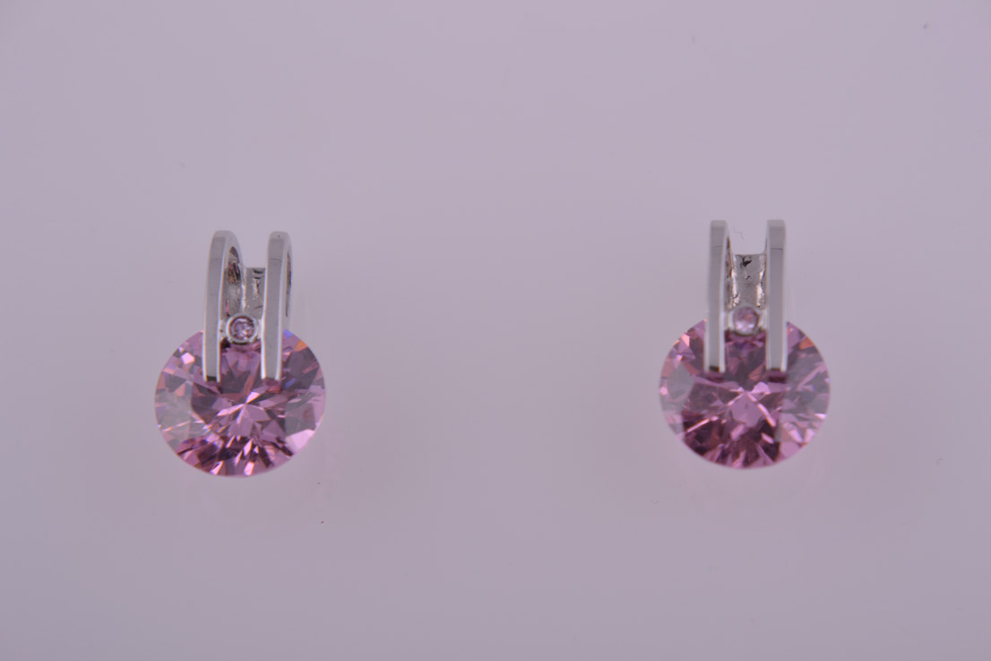 Silver Modern Stud Earrings With Pink Cubic Zirconia
