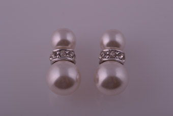 Modern Stud Earrings With Faux Pearls And White Paste