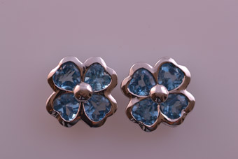 9ct White Gold Modern Stud Earrings With Blue Topaz