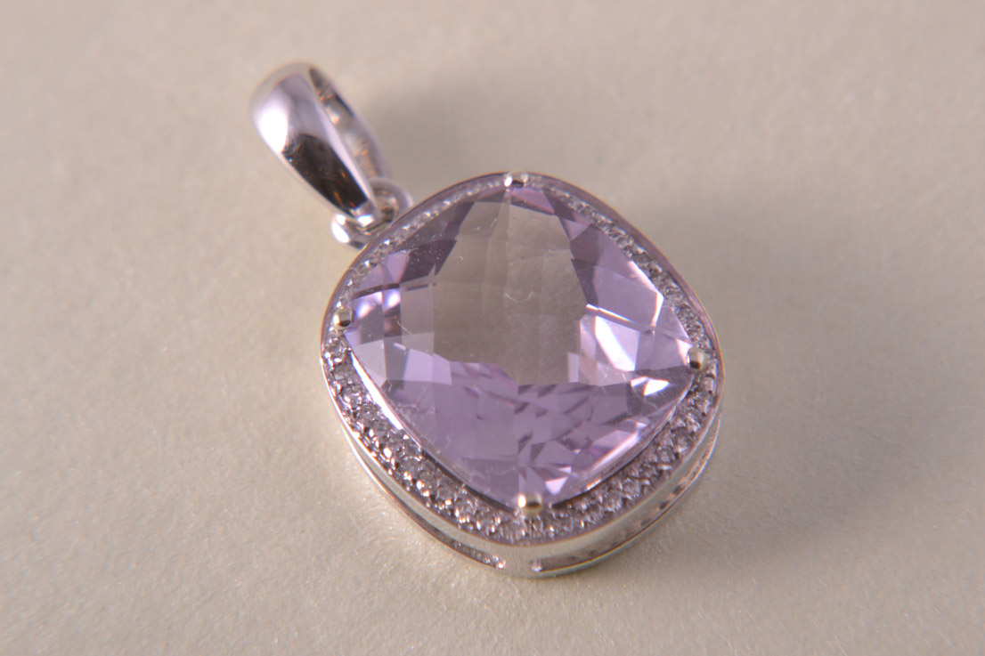9ct White Gold Modern Pendant With Amethyst And Diamonds