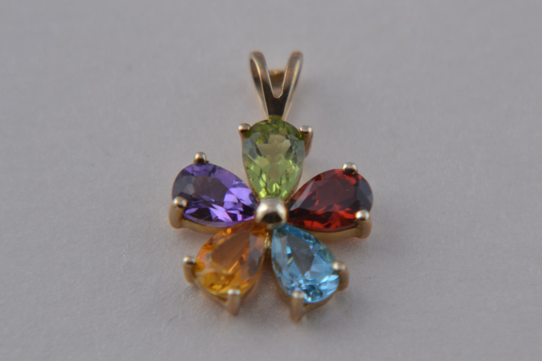 Pendant With Peridot, Garnet, Topaz, Citrine And Amethyst